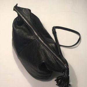 Margot Black Leather Hobo Crossbody Bag